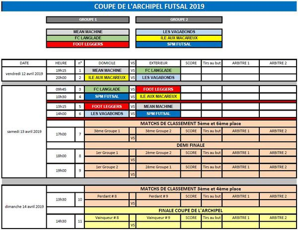 calendrier coupe archipel futsal
