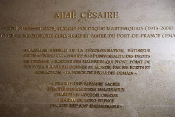 Plaque Aimé Césaire au Panthéon