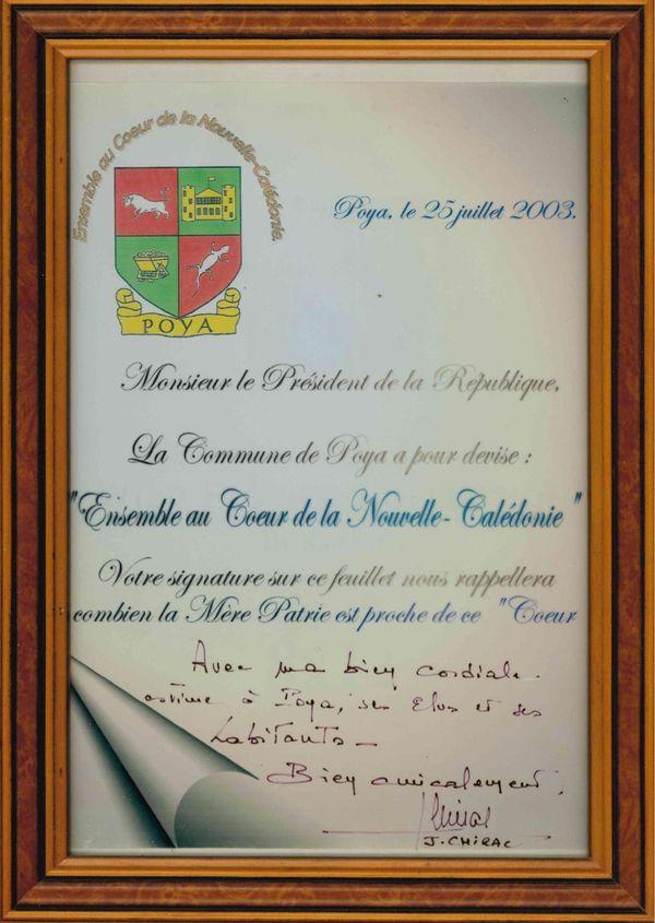 Mot de Jacques Chirac en 2003,à la mairie de Poya