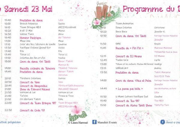 Programme du festival polynésien 2.0