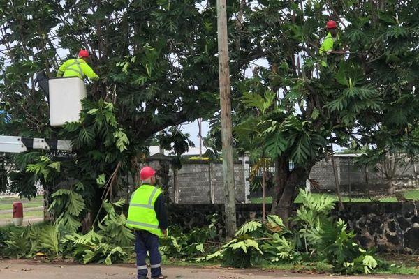 les agents EEWF réparent les lignes électriques