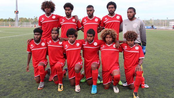 Le 11 titulaire des U17 face à la sélection des îles à Lifou.