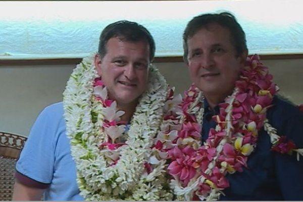 Louis Aliot, vice président du FN, et Eric Minardi, représentant du FN en Polynésie française.