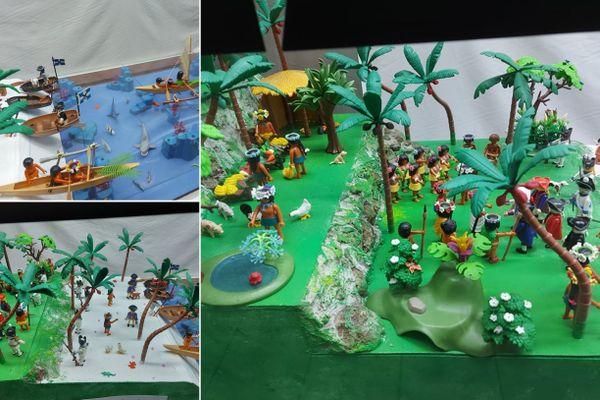 Exposition de figurines Playmobil polynésiens dans une boutique à Tahiti
