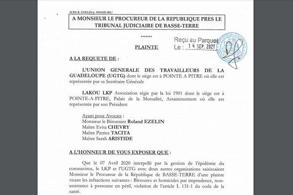 Plainte UGTG-LKP