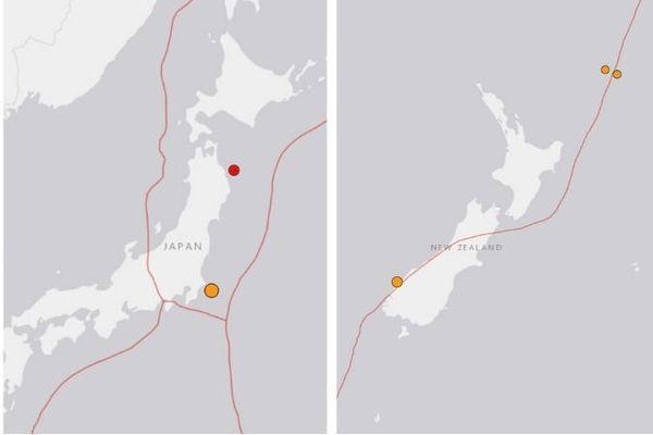 Deux séismes enregistrés à quelques heures d'intervalle au Japon et en Nouvelle-Zélande