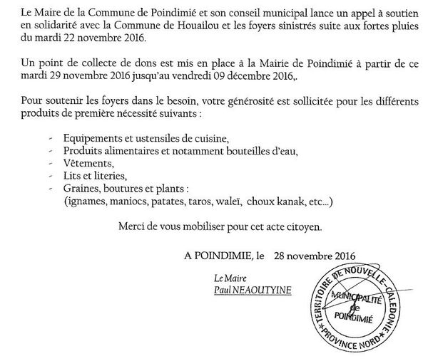 Communiqué maire de Poindimié. Solidarité Houaïlou.
