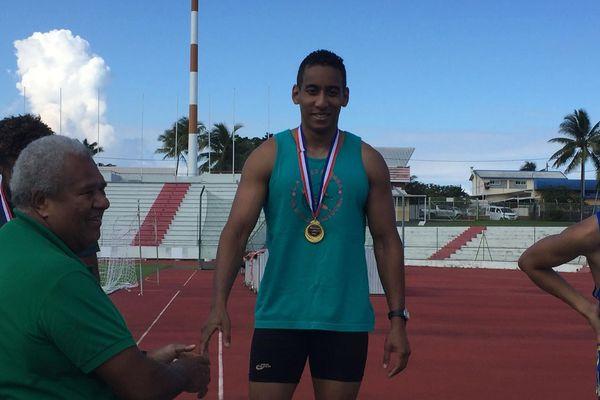 David Alexandrine, champion de Calédonie 2019 sur 200 mètres ce week-end.