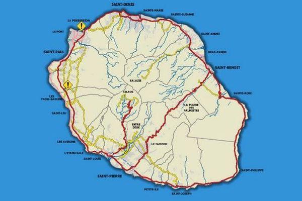 Carte barrages réseau routier à 13h45