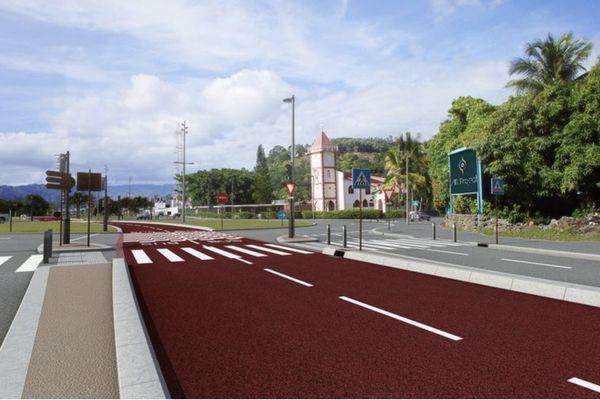 Esquisse de la future voie du Néobus à l'entrée de Montravel