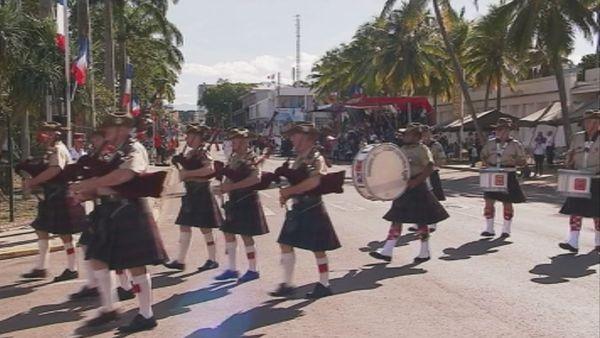 Nacho's pipes and drums band bagpipers australiens défilé 14 juillet Nouméa (14 juillet 2017)