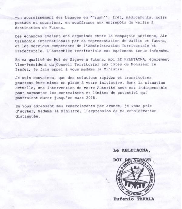 courrier roi de sigave à la ministre des OM Pb avion Wallis futuna page 2