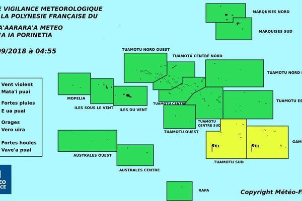 Vents violents sur le sud des Tuamotu et les Gambier