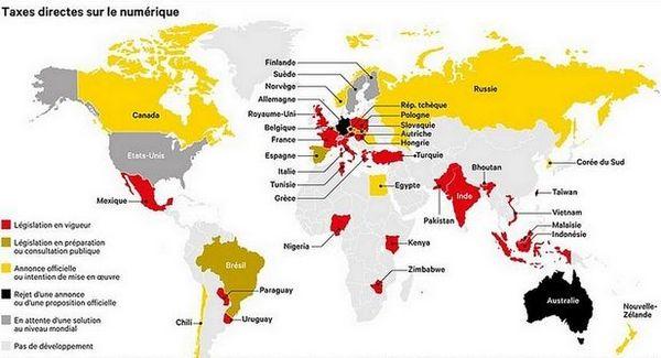 Carte des pays dans le monde qui taxent les GAFA