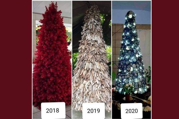 """Des sapins de Noël originaux """"made in fenua"""" réalisés par la famille Tavi"""