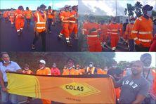 Les salariés de l'entreprise de construction COLAS mobilisés.