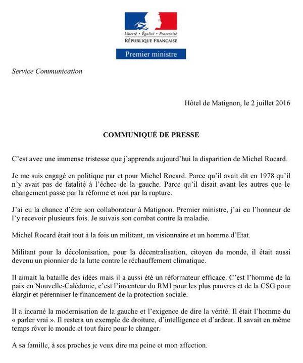 Communiqué Valls Rocard