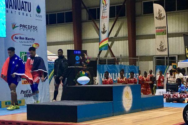 Podium final, haltérophilie moins de 85k, Vanuatu2017