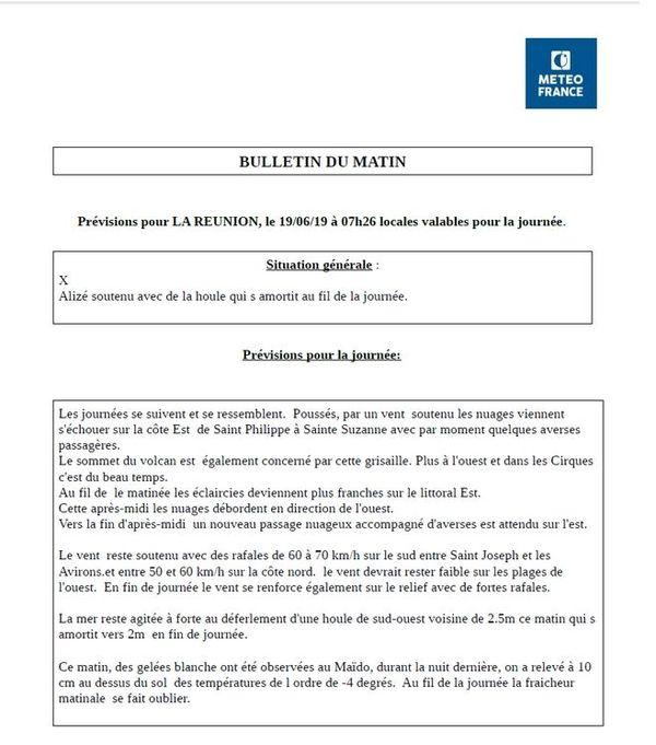 Communiqué de Météo-France La Réunion -4 au Maïdo