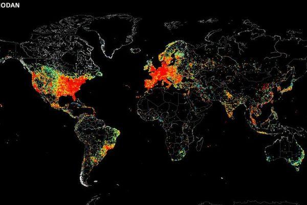 Tous les appareils connectés à internet dans le monde sur une carte