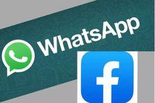 Logo du réseau social WhatsApp et celui de sa maison mère Facebook