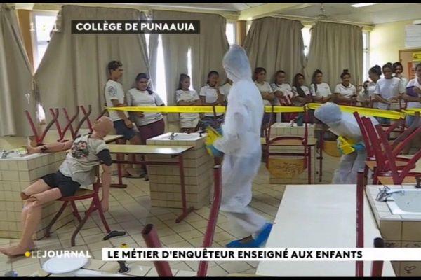 Exercice appliqué de criminologie pour les élèves de 3e du collège de Punaauia