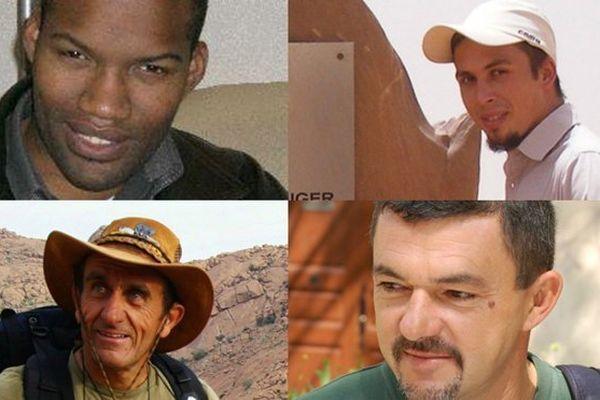 Les ex-otages détenus au Sahel : Thierry Dol (en haut, à g.), Pierre Legrand (en haut, à dr.), Daniel Larribe (en bas, à g.), Marc Féret (en bas, à dr.)