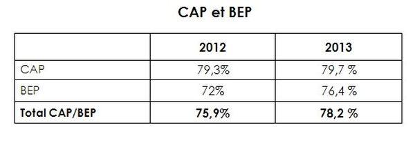 Résultats CAP et BEP 2013