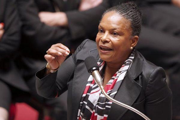 La garde des Sceaux, Christiane Taubira, lors de l'ouverture des débats sur la réforme pénale le mardi 3 juin 2014 à l'Assemblée
