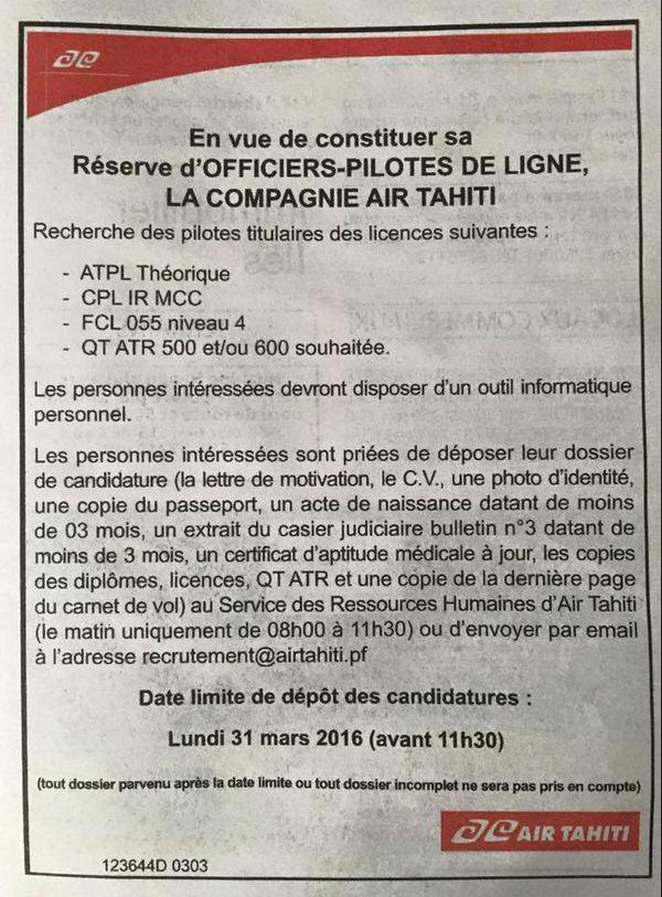 Air Tahiti recrute