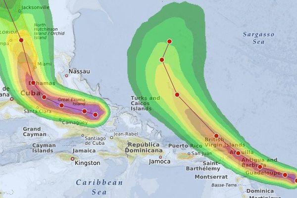 Après Irma (à gauche) le cyclone José devrait frapper l'arc antillais ce week end