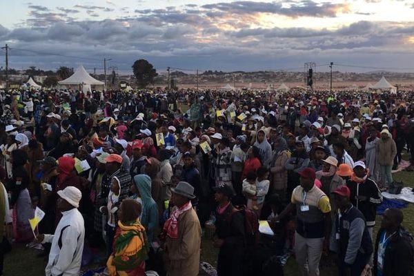 Le pape François sur le site de Soamandrakizay à Madagascar pour une grande veillée avec les jeunes.