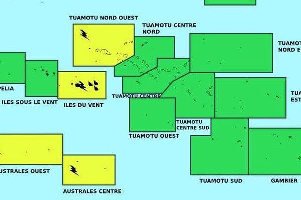 Vigilance jaune aux Iles du Vent et aux Australes du centre