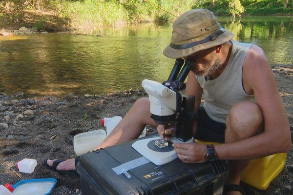 Mission scientifique dans le lit d'une rivière à Poya, juillet 2018