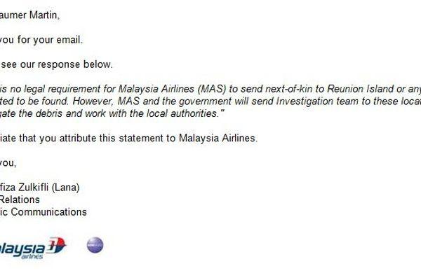 Communiqué de la Malaysian Airlines