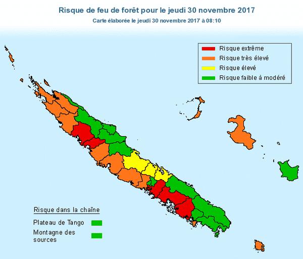 Carte Prévifeu du 30 novembre 2017