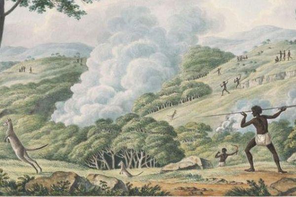 Un indigène chassant le kangourou