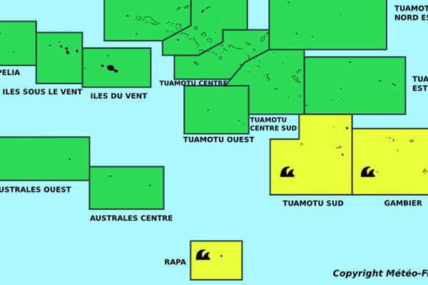 JAUNE pour les FORTES HOULES sur les zones : Rapa, Gambier, Tuamotu Sud.