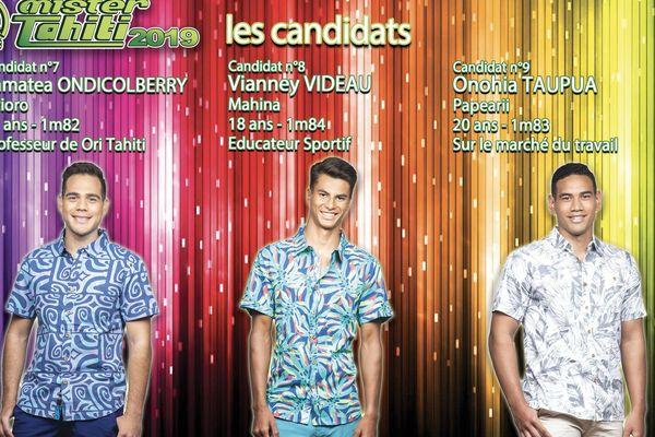 les candidats au titre de Mister Tahiti 2020