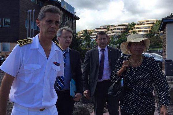 La Ministre des Outre-mer, George Pau Langevin, et le Préfet de La Réunion, Dominique Sorain, à Saint-Gilles
