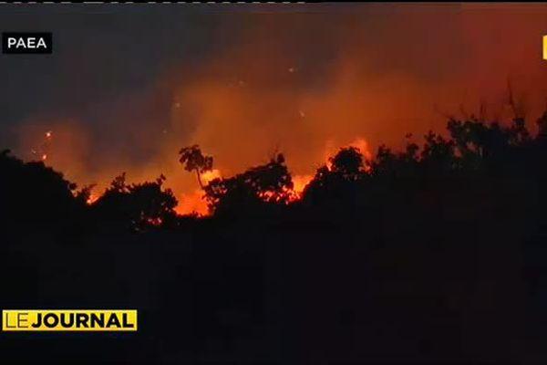Incendie sur les hauteurs de Punaauia