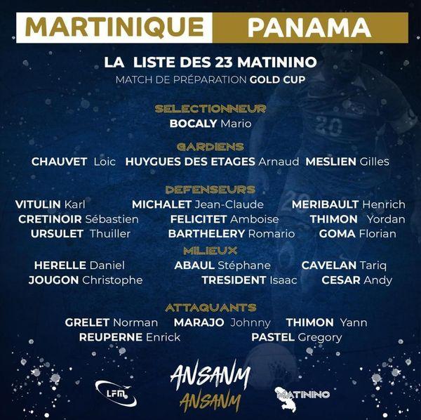 Liste de la sélection Martinique de football
