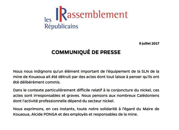 SLN Kouaoua communiqué Le Rassemblement Les Républicains