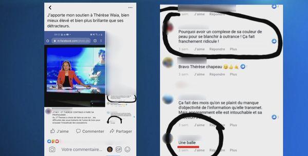 Capture d'écran réseaux sociaux insultes et menace Thérèse Waïa