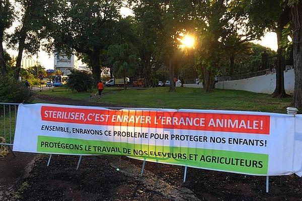 Banderole en faveur de la stérilisation des animaux errants