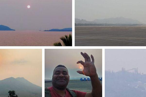 Bande de fumées des feux australiens sur la Calédonie