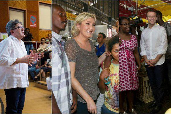 Antilles-Guyane : ce qu'il faut retenir des visites de Jean-Luc Melenchon, Emmanuel Macron et Marine Le Pen