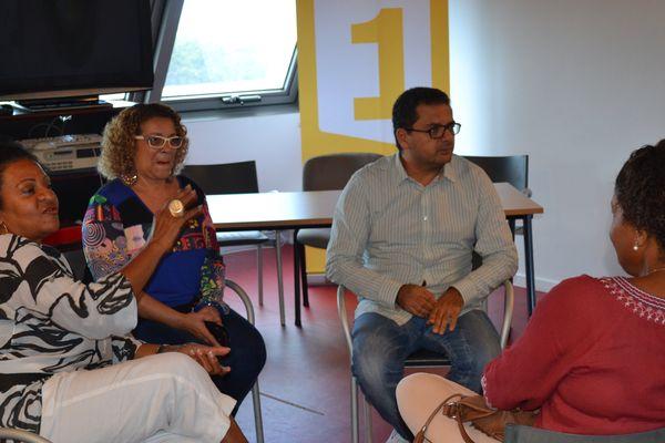 12 - Liliane Francil, directrice régionale de Guadeloupe 1ere, Catherine Le Pelletier, responsable des supports numériques et Djelloul Belghit, administrateur