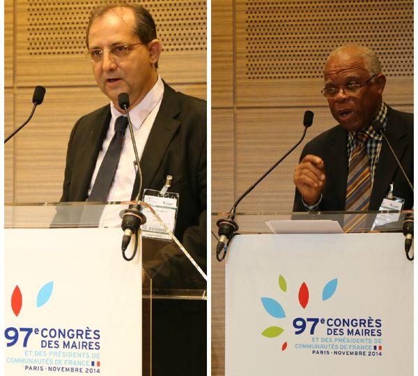 Stéphane Fouassin, Pt de l'association des maires de La Réunion et Jean-Claude Lambion, Pt de l'association des maires de la Guadeloupe