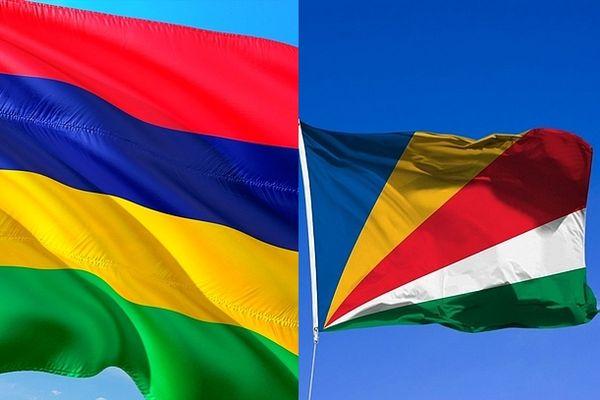Drapeaux de l'île Maurice et des Seychelles février 2021